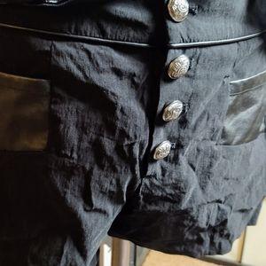 Dressy black shorts large buttons pleather belt L
